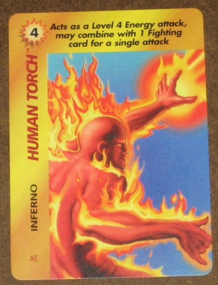 Marvel OverPower (Fleer 1995) - Human Torch Inferno Card EX