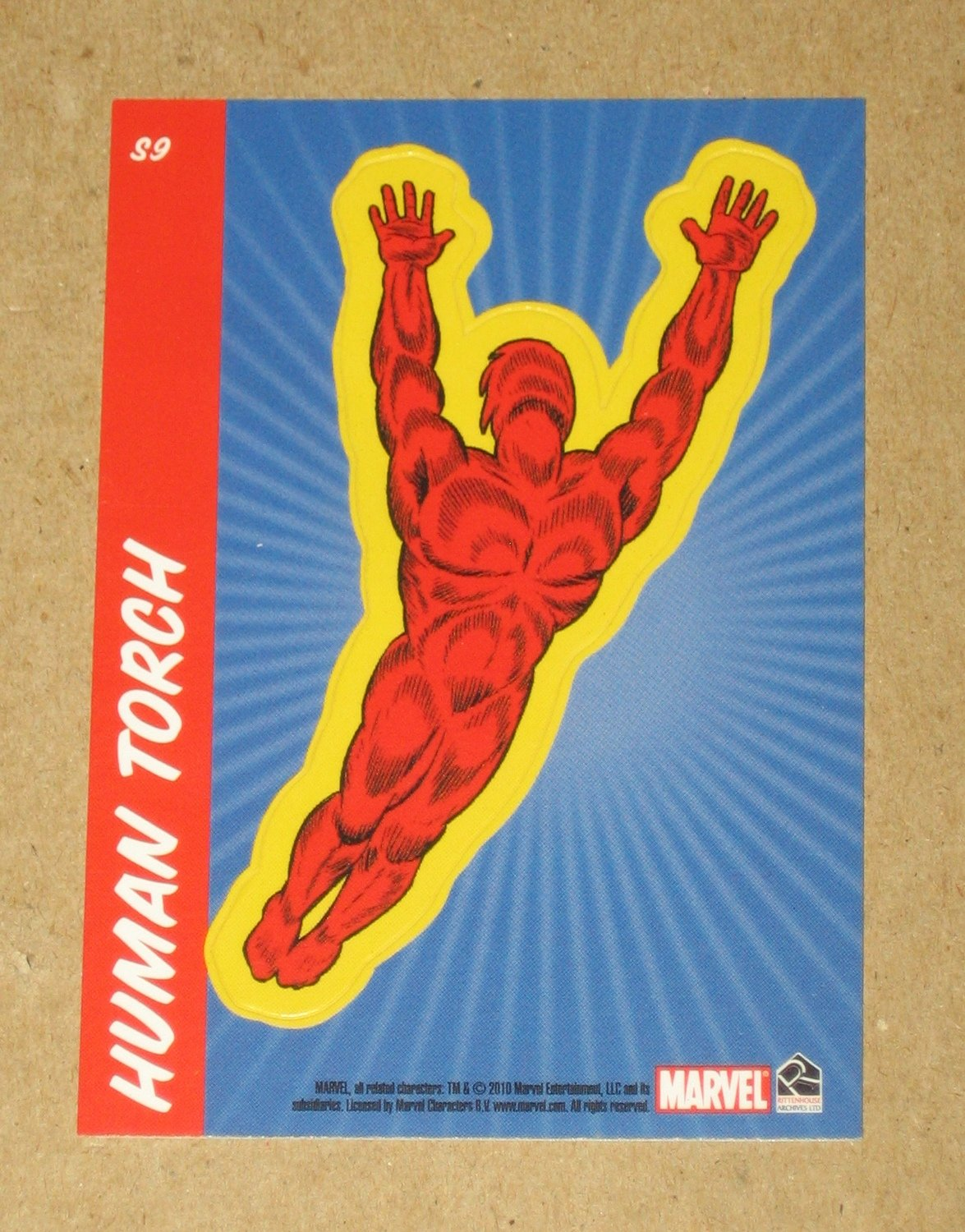 70 Years of Marvel Comics (Rittenhouse 2010) Sticker Card S9- Human Torch EX