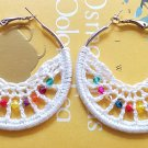 Handmade Crochet Boho Hoop Earrings 5cm or 2 inches hoop with white cotton lace and faceted beads
