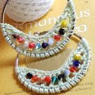 Handmade Crochet Hoop Earrings 5cm or 2 inches Boho hoop with cotton lace and faceted beads