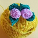 Small Pink Mini Rose Rosette earrings handmade crochet with cotton yarn