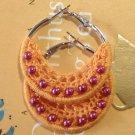 Handmade Crochet Bohemian Hoop Earrings 4cm or 1.5 inches hoop with orange lace and beads