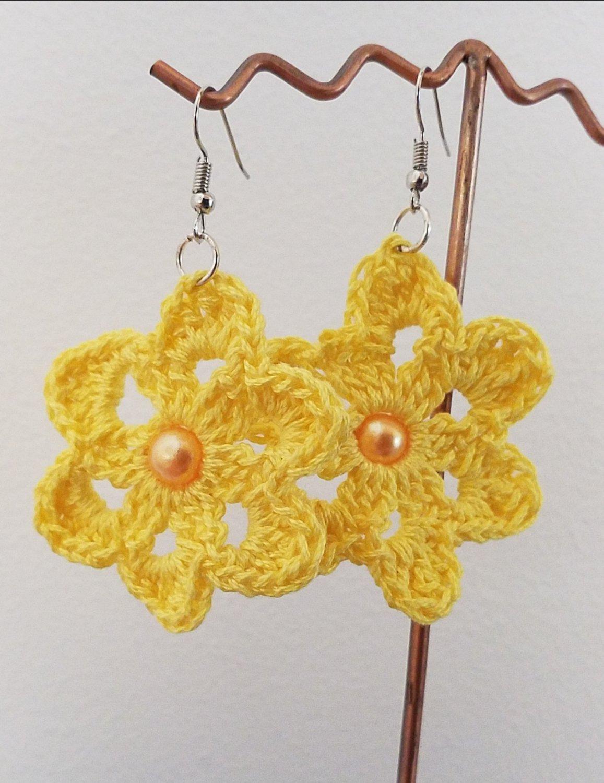 Handmade Crochet Dangle Flower Earrings 4cm Or 15 Inches With