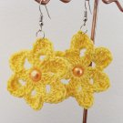 Handmade Crochet Dangle Flower Earrings 4cm or 1.5 inches with Yellow Bead