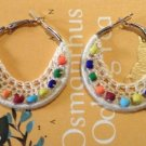 Handmade Crochet Bohemian Hoop Earrings 4cm or 1.5 inches hoop with beige lace and Czech beads