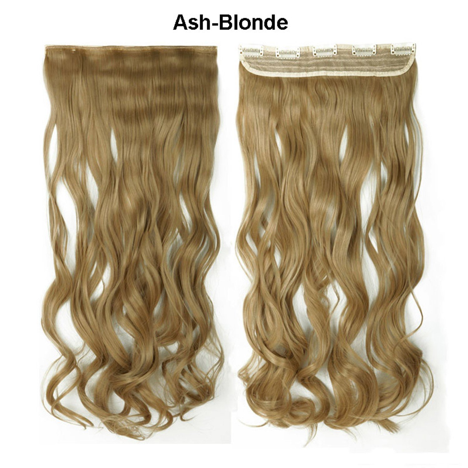 18 Ash Blond Long Curly Synthetic Real As Human Hair Extension Full