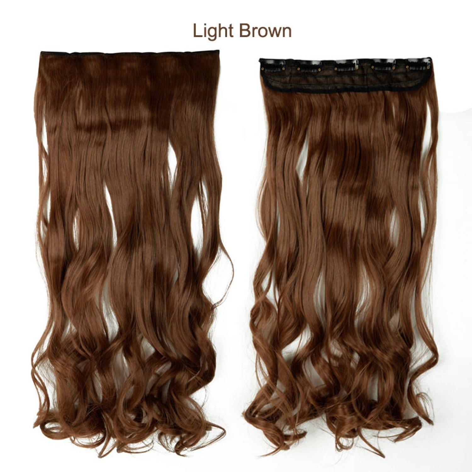 18 Fine Quality Light Brown Long Curly Synthetic Real As Human Hair