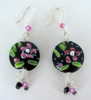 Whimsy Pink Flower Earrings