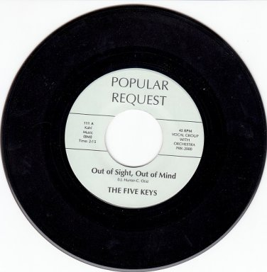 FIVE KEYS ~Out Of Sight Out Of Mind* M-45*RARE BROWN WAX !