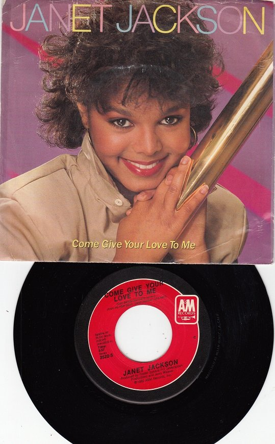 JANET JACKSON ~ Come Give Your Love To Me*VG+Picture Sleeve & 45 !