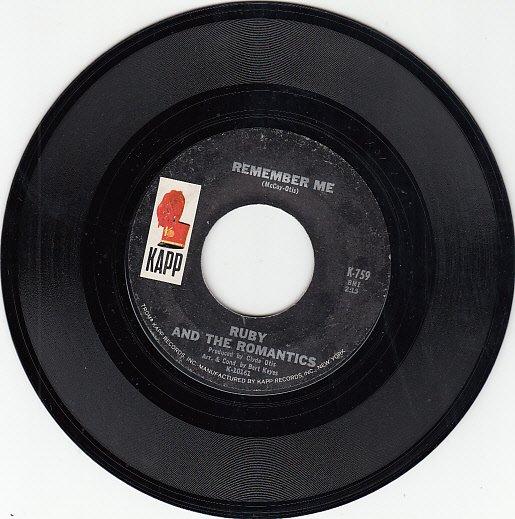 RUBY & THE ROMANTICS ~ Remember Me*Mint-45 !