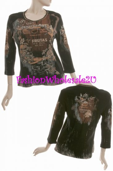 "WS Black Vintage ""Mona Lisa Fruit"" T-Shirt Top Wholesale (7 Pack)"