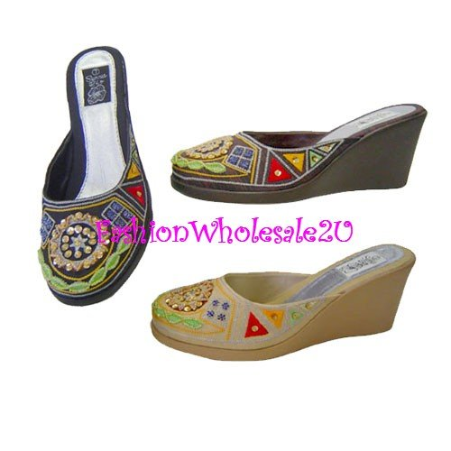 HW Aztec Wedge Womens Shoes Wholesale (18 Pair) - BLACK
