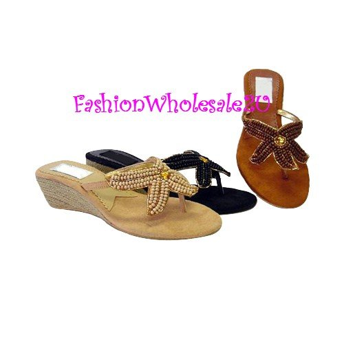HW StarShell Wedge Womens Shoes Wholesale (18 Pair) - CAMEL