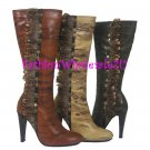 HW Snake Imprint Feather and Stud Boots Wholesale (12 Pair) - BEIGE
