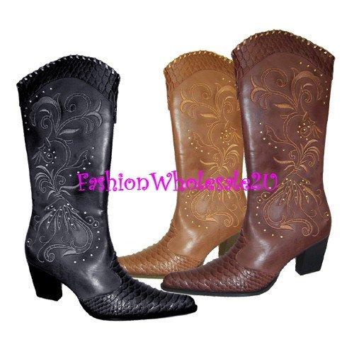 HW Stud and Snake Print Tip Cowboy Boots Wholesale (12 Pair) - BLACK