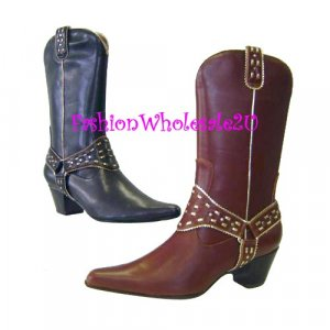 HW Dress Saddle Fashion Cowboy Womens Boots Wholesale (12 Pair) - BLACK
