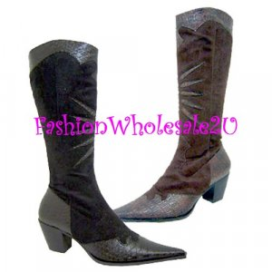 HW  Croco Pointed Toe Fashion Cowboy Boots Wholesale (12 Pair) - BROWN
