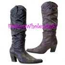 HW  Rouched Fashion Cowboy Boots Wholesale (12 Pair) - BLACK