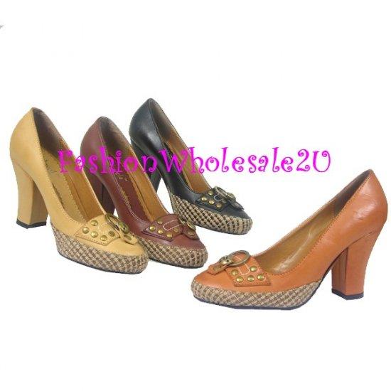 HW High Heel Canvas Woven Trim Womens Shoes Wholesale (12 Pair) - BEIGE