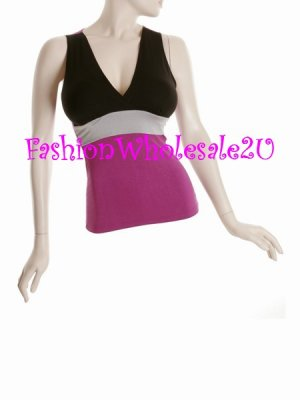 WS Tri-Solid Color V-Neck Halter Top Wholesale (6 Pack)