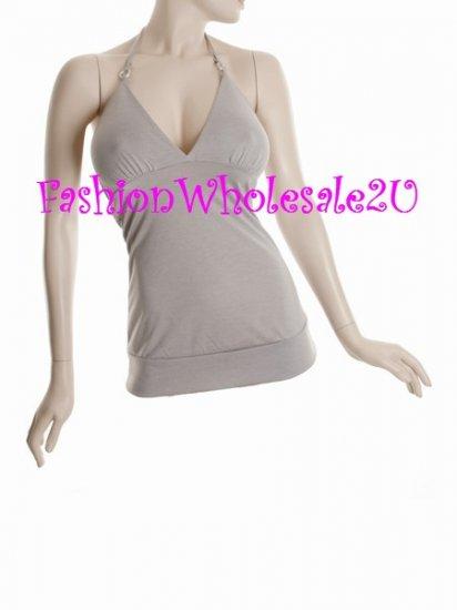 WS Grey V-Neck Halter Top Wholesale (6 Pack)