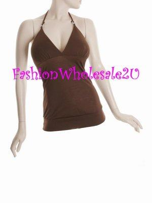 WS Brown V-Neck Halter Top Wholesale (6 Pack)