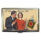 I like what you like-couple smoking Lucky Strike ad 1933 Silver Chrome Cigarette Money Case