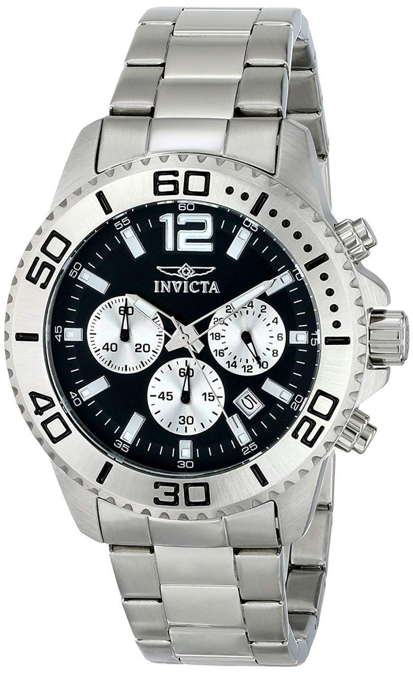 Invicta Men's Pro Diver Chronograph Black Dial Stainless Steel Watch