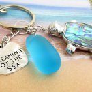 Sea Turtle Keychain with Sea Glass and Beach Quote