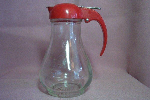 Vintage DRIPCUT SYRUP DISPENSER, Red Bakelite Handle