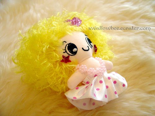 Yellow Cutie Doll Cell Phone Strap