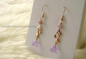 Purple Zircon Music Note Gold Tone Earrings
