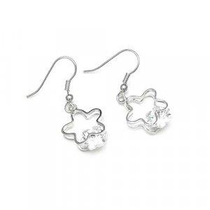 Silver Tone Flower Shape Clear Zircon Earrings