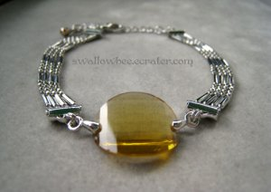 Yellow Oval Synthetic Crystal Silver Tone Bracelet