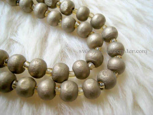 Coffee Wooden Beads Long Necklace