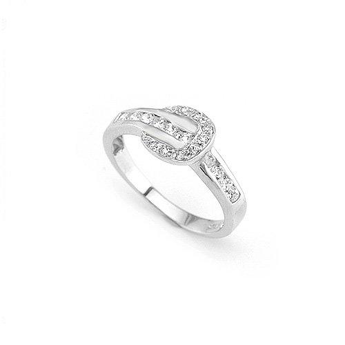 Sparkling Zircon Belt Shape Fashion Ring