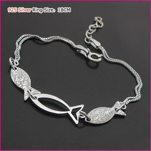 Sterling Silver Three Little Fish Bracelet