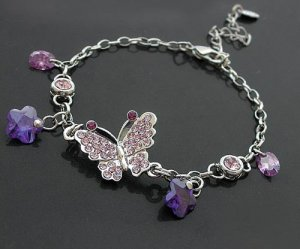 Charming Purple Butterfly Bracelet