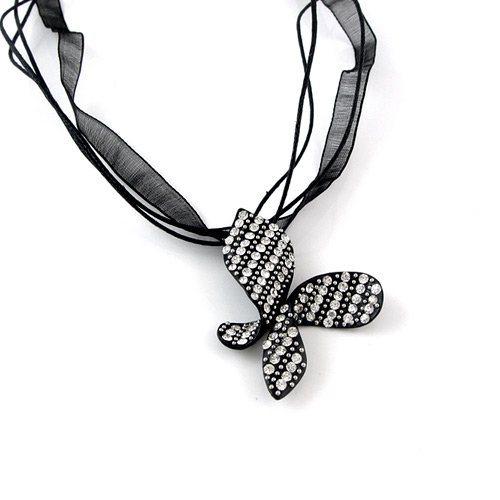 Sparkling Black and White Butterfly Necklace