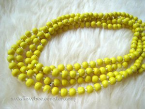 Yellow Wooden Beads Long Necklace