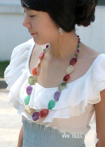 Purple Beige Red Green(Oval-Shape) Long Necklace