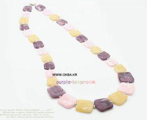 Purple Beige Pink(Square-Shape) Long Necklace