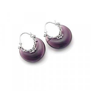 Elegant Sterling Silver Austrian Amethyst Moon Shape Earrings
