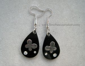 Black Butterfly Drop Earrings