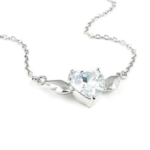 Angel's Heart Zircon Silver Tone Necklace