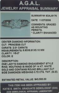 2.73ct VS2 Princess Diamond Engagement Ring