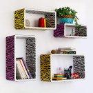 TRI-WS008-REC [Purple Yellow Zebra] Rectangle Leather Wall Shelf / Bookshelf / Floating Shelf (Set o