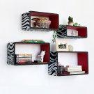 TRI-WS014-REC [Silver & Red Zebra] Rectangle Leather Wall Shelf / Bookshelf / Floating Shelf (Set of