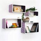 TRI-WS023-REC [Purple Strip] Rectangle Leather Wall Shelf / Bookshelf / Floating Shelf (Set of 4)
